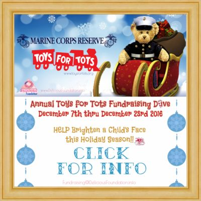 Delicious Foundation's 3rd Annual Toys for Tots Drive 2016