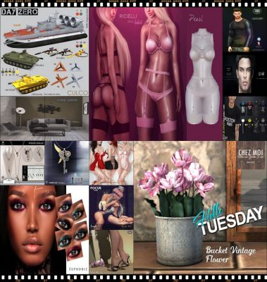 """TIME FOR  HELLO TUESDAY! JUST ONE DAY FOR 50L$ AND 50% OFF SALE DEALS! Find all info and direct SLurls @ http://cosmopolitansl.blogspot.com/2018/04/hello-tuesday-209-store-list-for-17th.html """"Hello Tuesday is weekly discount event with Cosmo stores, direct SLurls to every item you can find next to each vendor picture."""" Enjoy!"""