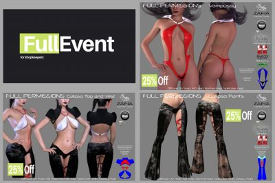 FullEvent. ZAFIA Fashion @FullEvent. Vampussy Fatpack 25% Off. Calipso Top and Vest Maitreya 25% Off. Calipso Pants Fatpack 25% Off. October Round Open 15th https://maps.secondlife.com/secondlife/Lawaii%20Myst/46/22/1011