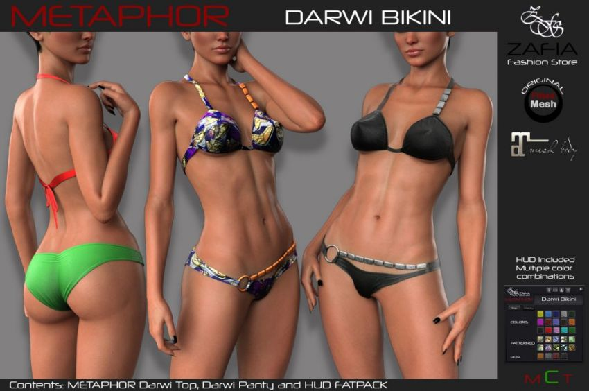 ⁣METAPHOR Darwi is a cool bikini with metallic decorations that give it a certain elegance. It is available in 15 colors and 10 patterns, sold separately. A FatPack with HUD is also available that includes all colors and patterns and four different metals. Exclusive model for Vanity Event. The round starts on March 15 ⁣https://zafiafashionstore.com/2020/03/14/metaphor-darwi-bikini-maitreya/