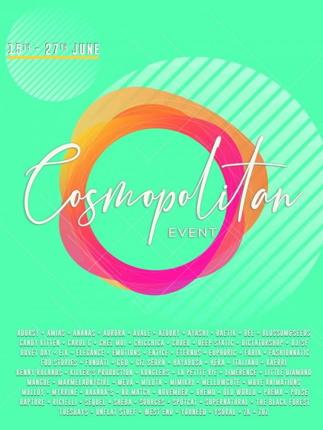 ⁣BRAND NEW COSMOPOLITAN ROUND IS HERE! \o/ You have two weeks to come on in, browse around and snap them all up before the round changes again on June 28th! Find all info @ https://cosmopolitansl.blogspot.com/2020/06/cosmopolitan-round-29-15th-27th-june.html Or just come @ http://maps.secondlife.com/secondlife/No%20Comment/131/61/22  Enjoy!
