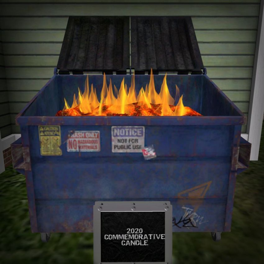 If 2020 is anything, this is what it is! What a way to remember this year! The ZFG 4 Home Commemorative 2020 Candle! Found only at Spookzilla! ⁣:open_mouth: https://maps.secondlife.com/secondlife/Slytherin/118/130/24