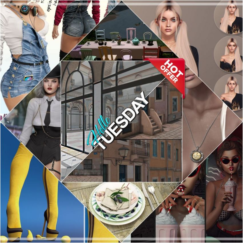 """TIME FOR HELLO TUESDAY SALE DEALS, ONE DAY ONLY!Find all info and direct SLurls @ https://bit.ly/2ZELbbp""""Hello Tuesday is weekly discount event with Cosmo stores, direct SLurls to every item you can find next to each vendor picture.""""Enjoy!"""