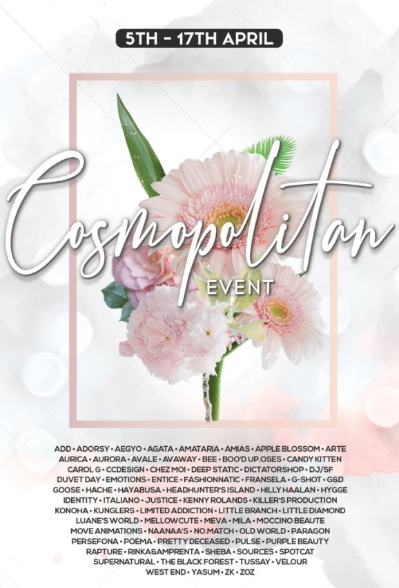 BRAND NEW COSMOPOLITAN ROUND IS HERE! \o/You have two weeks to come on in, browse around and snap them all up before the round changes again on April 18th!Gallery @ https://bit.ly/3dyjx6nLM @ http://maps.secondlife.com/secondlife/No%20Comment/131/61/22 Enjoy!⁣