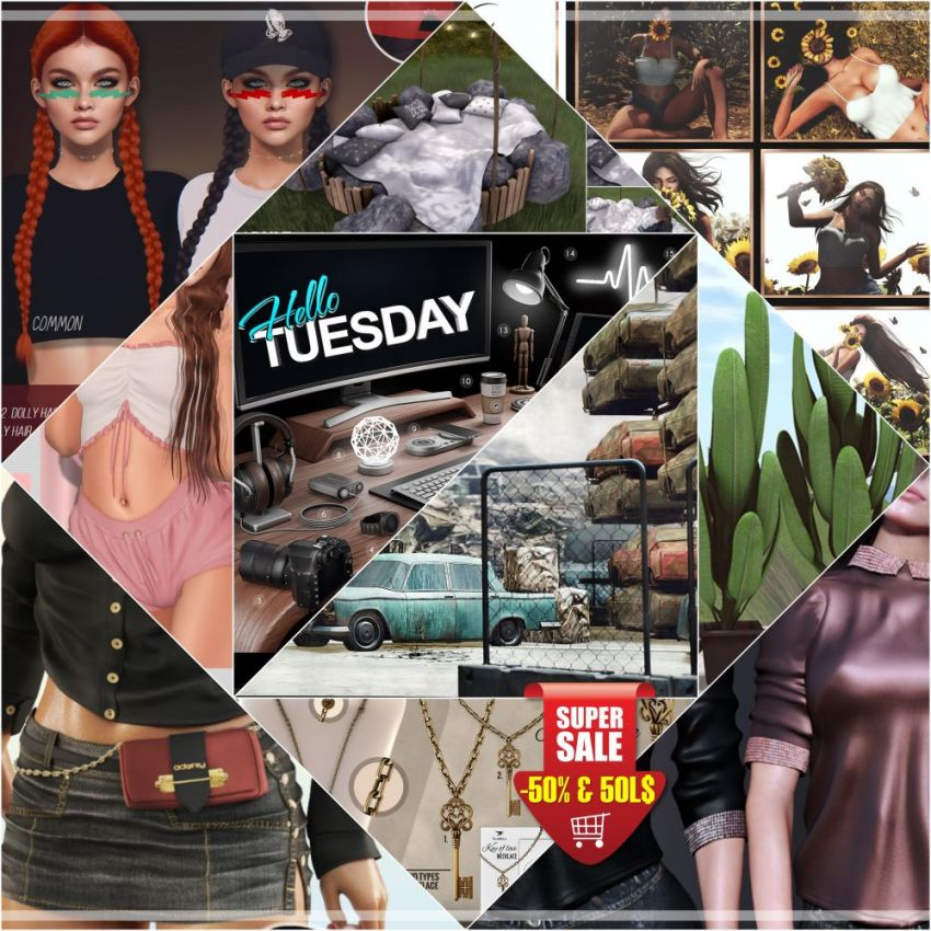 "TIME FOR HELLO TUESDAY!JUST ONE DAY FOR 50L$ AND 50% OFF SALE DEALS!Find all info and direct SLurls @ https://bit.ly/3wruHm5""Hello Tuesday is weekly discount event with Cosmo stores, direct SLurls to every item you can find next to each vendor picture.""Enjoy!⁣"