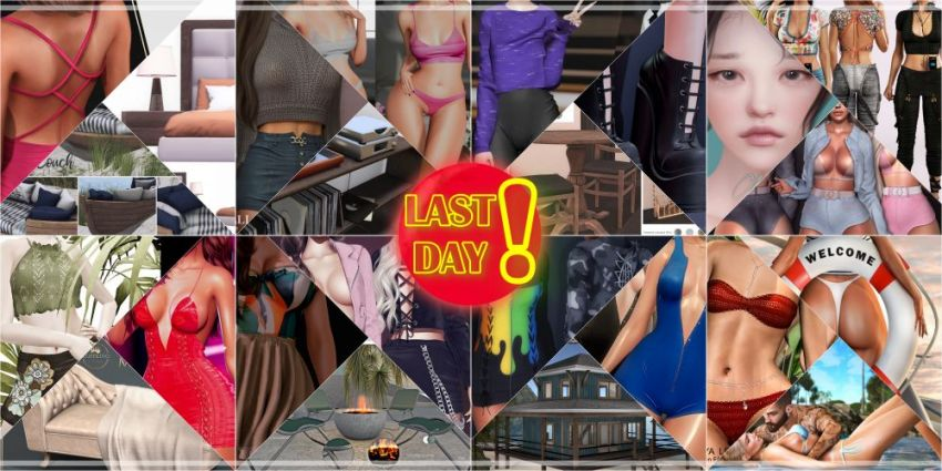 LAST DAY FROM CURRENT COSMOPOLITAN ROUND!Come check what Cosmopolitan have to offer before its all gone with new round 27th June!Gallery @ https://bit.ly/3ghfA8NLM @ http://maps.secondlife.com/secondlife/No%20Comment/131/61/22 Enjoy!