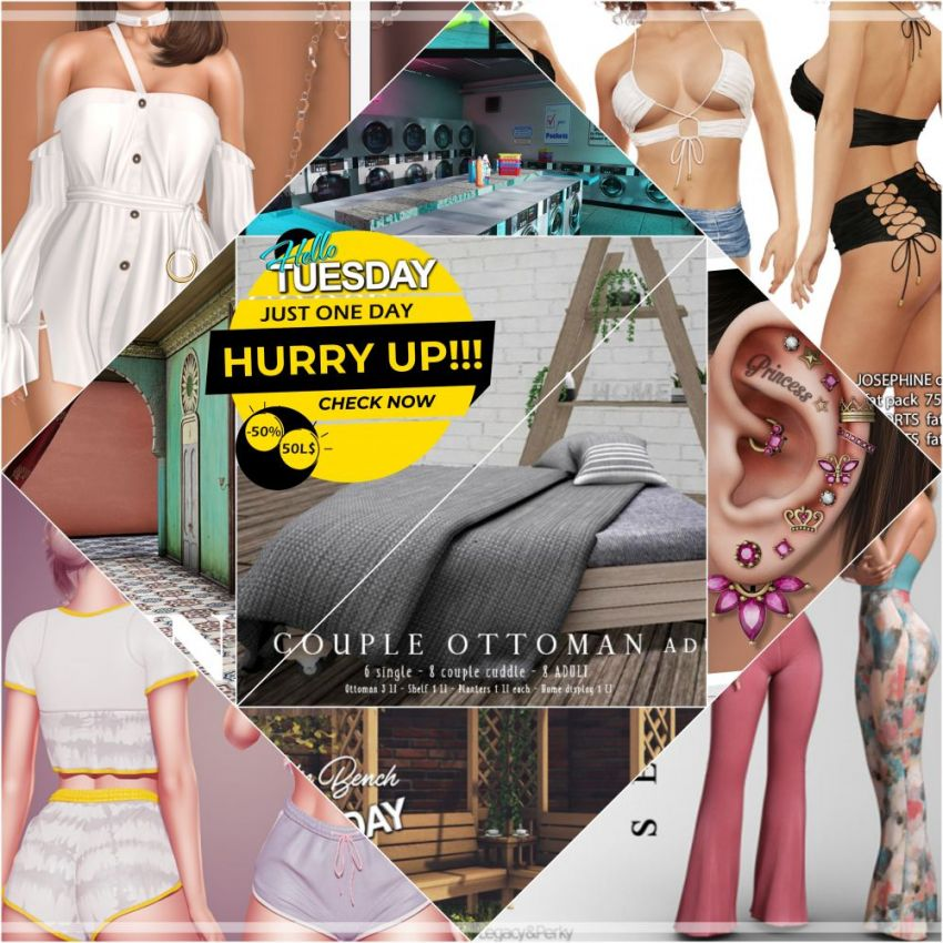 """TIME FOR HELLO TUESDAY!JUST ONE DAY FOR 50L$ AND 50% OFF SALE DEALS!Find all info and direct SLurls @ https://bit.ly/3x2rfhT""""Hello Tuesday is weekly discount event with Cosmo stores, direct SLurls to every item you can find next to each vendor picture.""""Enjoy!"""