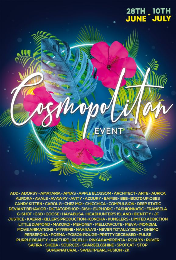 JUST FEW DAYS LEFT FROM CURRENT COSMOPOLITAN ROUND! Make sure to come by before new round replace it all 11th July! Gallery @ https://bit.ly/3qx77Sg LM @ http://maps.secondlife.com/secondlife/No%20Comment/131/61/22 Enjoy!