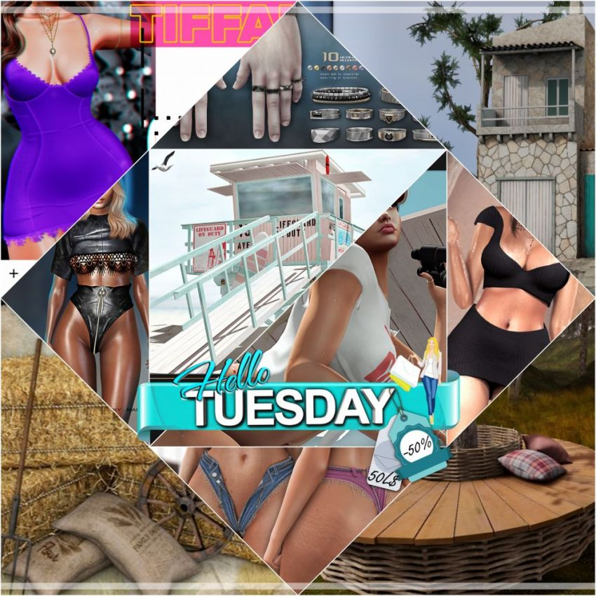 """TIME FOR HELLO TUESDAY!JUST ONE DAY FOR 50L$ AND 50% OFF SALE DEALS!Find all info and direct SLurls @ https://bit.ly/36tQY7d""""Hello Tuesday is weekly discount event with Cosmo stores, direct SLurls to every item you can find next to each vendor picture.""""Enjoy!"""