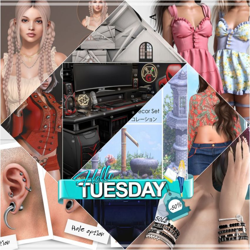 """TIME FOR HELLO TUESDAY! JUST ONE DAY FOR 50L$ AND 50% OFF SALE DEALS! Find all info and direct SLurls @ https://bit.ly/3ioCwCR """"Hello Tuesday is weekly discount event with Cosmo stores, direct SLurls to every item you can find next to each vendor picture."""" Enjoy!"""