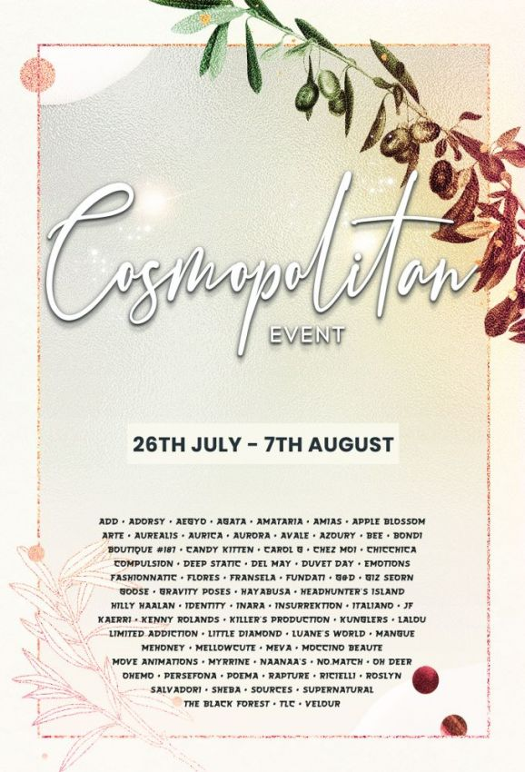 BRAND NEW COSMOPOLITAN ROUND IS HERE! \o/ You have two weeks to come on in, browse around and snap them all up before the round changes again on 8th August! Gallery @ https://bit.ly/3iRp4I9 LM @ http://maps.secondlife.com/secondlife/No%20Comment/131/61/22  Enjoy!