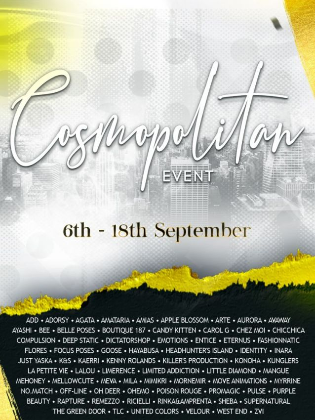 BRAND NEW COSMOPOLITAN ROUND IS HERE! \o/You have two weeks to come on in, browse around and snap them all up before the round changes again on 19th September!Gallery @ https://bit.ly/3BKPoeJLM @ http://maps.secondlife.com/secondlife/No%20Comment/131/61/22 Enjoy!