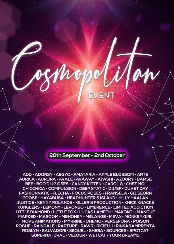 BRAND NEW COSMOPOLITAN ROUND IS HERE! \o/ You have two weeks to come on in, browse around and snap them all up before the round changes again on 3rd October! Gallery @ https://bit.ly/3tV5Num LM @ http://maps.secondlife.com/secondlife/No%20Comment/131/61/22  Enjoy!