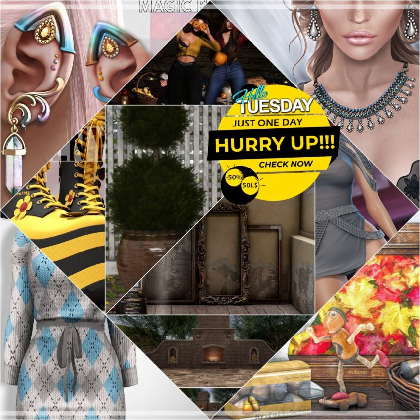 """TIME FOR HELLO TUESDAY! JUST ONE DAY FOR 50L$ AND 50% OFF SALE DEALS! Find all info and direct SLurls @ https://bit.ly/3tXWYQh """"Hello Tuesday is weekly discount event with Cosmo stores, direct SLurls to every item you can find next to each vendor picture."""" Enjoy!"""