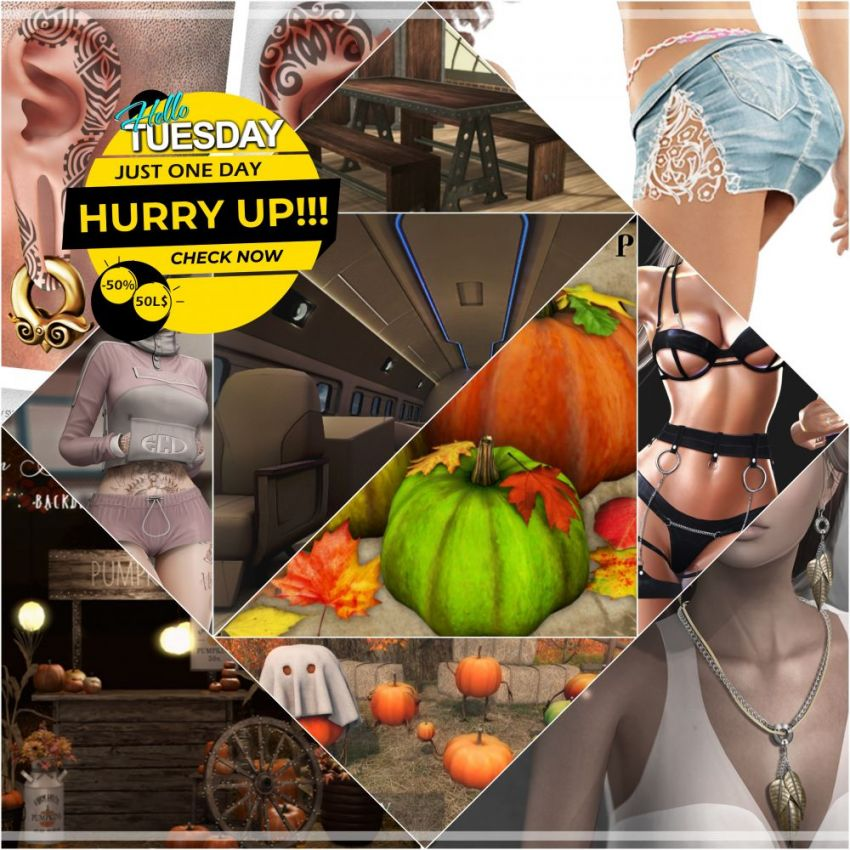 """TIME FOR HELLO TUESDAY!JUST ONE DAY FOR 50L$ AND 50% OFF SALE DEALS!Find all info and direct SLurls @ https://bit.ly/39HZFwe""""Hello Tuesday is weekly discount event with Cosmo stores, direct SLurls to every item you can find next to each vendor picture.""""Enjoy!"""