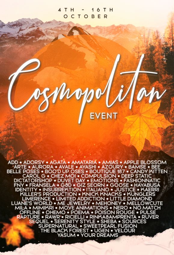 BRAND NEW COSMOPOLITAN ROUND IS HERE! \o/ You have two weeks to come on in, browse around and snap them all up before the round changes again on 17th October! Gallery @ https://bit.ly/2YfMfWk LM @ http://maps.secondlife.com/secondlife/No%20Comment/131/61/22  Enjoy!