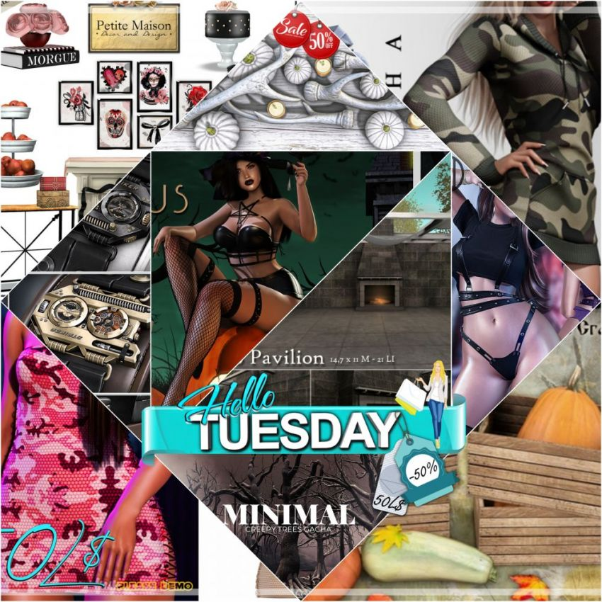 """TIME FOR HELLO TUESDAY! JUST ONE DAY FOR 50L$ AND 50% OFF SALE DEALS! Find all info and direct SLurls @ https://bit.ly/3EbSeKU """"Hello Tuesday is weekly discount event with Cosmo stores, direct SLurls to every item you can find next to each vendor picture."""" Enjoy!"""